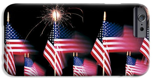 Pyrotechnics iPhone Cases - Us Flags And Fireworks iPhone Case by Panoramic Images