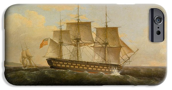 President iPhone Cases - US Frigate President iPhone Case by Thomas Birch