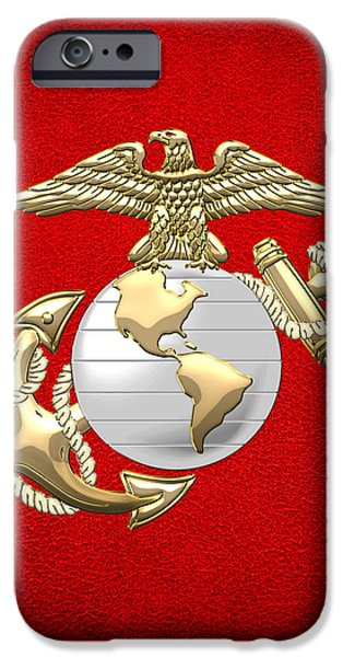 Marine Corps Digital iPhone Cases - U. S. Marine Corps Eagle Globe and Anchor - E G A on Red Leather iPhone Case by Serge Averbukh