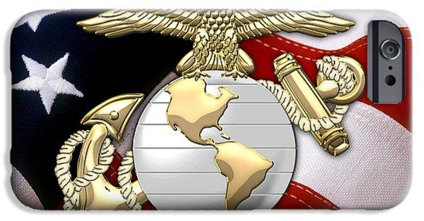 Marine Corps Digital iPhone Cases - U.S. Marine Corps - USMC Eagle Globe and Anchor over American Flag. iPhone Case by Serge Averbukh