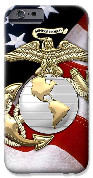 Marine Corps Digital iPhone Cases - U. S. Marine Corps - U S M C Eagle Globe and Anchor over American Flag. iPhone Case by Serge Averbukh