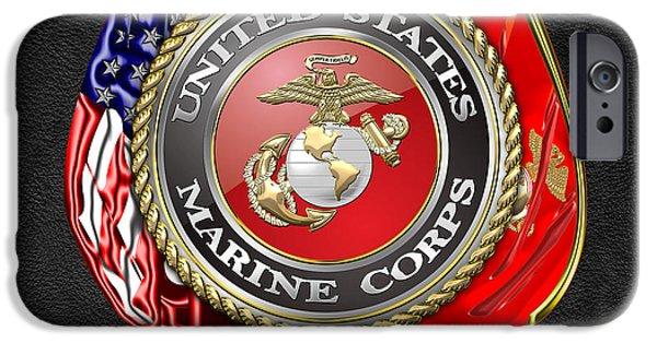 Marine Corps Digital iPhone Cases - U.S. Marine Corps USMC Emblem on Black iPhone Case by Serge Averbukh