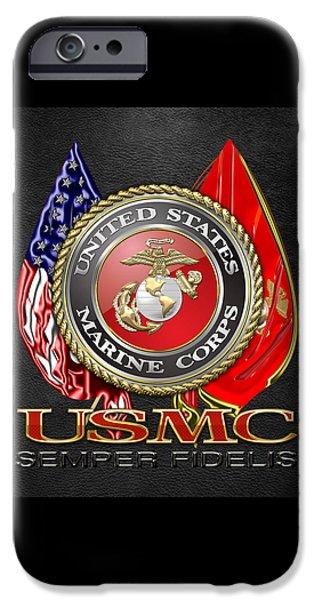 Marine Corps Digital iPhone Cases - U. S. Marine Corps U S M C Emblem on Black iPhone Case by Serge Averbukh