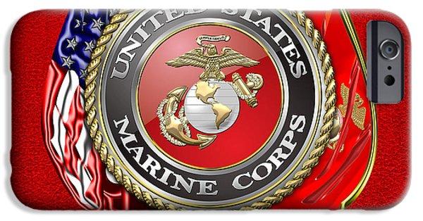 Marine Corps Digital iPhone Cases - U.S. Marine Corps USMC Emblem on Red iPhone Case by Serge Averbukh