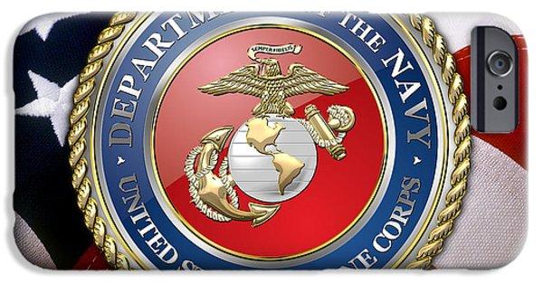 Marine Corps Digital iPhone Cases - U.S. Marine Corps - USMC Emblem over American Flag. iPhone Case by Serge Averbukh