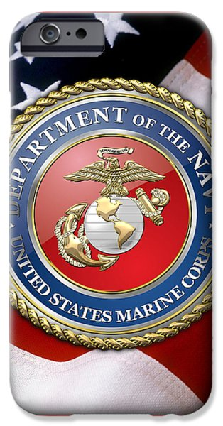Marine Corps Digital iPhone Cases - U. S. Marine Corps - U S M C Emblem over American Flag. iPhone Case by Serge Averbukh