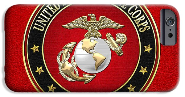 Marine Digital iPhone Cases - U. S. Marine Corps - USMC Emblem Special Edition iPhone Case by Serge Averbukh