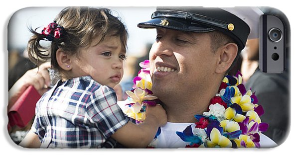 Bonding iPhone Cases - U.s. Navy Sailor Holds His Daughter iPhone Case by Stocktrek Images
