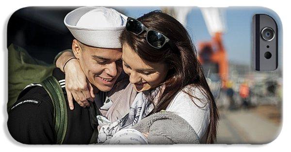 Recently Sold -  - Bonding iPhone Cases - U.s. Navy Sailor Hugs His Wife iPhone Case by Stocktrek Images