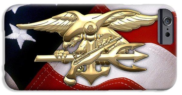 American Flag iPhone Cases - U.S. Navy SEALs Emblem over American Flag iPhone Case by Serge Averbukh