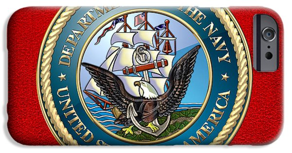 Usn iPhone Cases - U.S. Navy - USN Emblem iPhone Case by Serge Averbukh