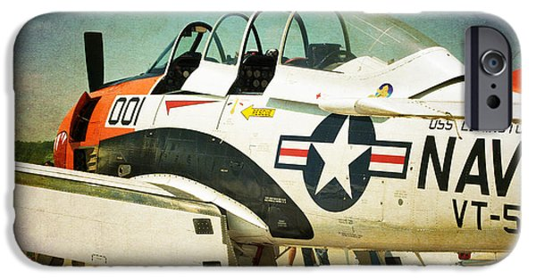Old Digital Art iPhone Cases - US Navy T28-C Training Plane iPhone Case by Thomas Woolworth