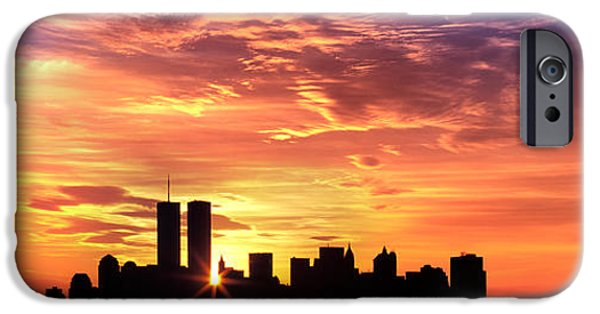 Morning iPhone Cases - Us, New York City, Skyline, Sunrise iPhone Case by Panoramic Images