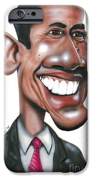 Barack Obama Drawings iPhone Cases - US President Barack Obama iPhone Case by Mark Weldon