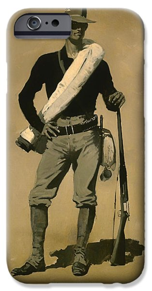 Weapon Paintings iPhone Cases - US Soldier Spanish American War iPhone Case by Frederic Remington