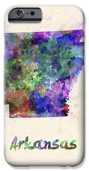 Arkansas iPhone Cases - US state in watercolor iPhone Case by Pablo Romero