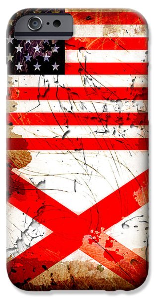 Bama iPhone Cases - USA Alabama Grunge Flags iPhone Case by David G Paul