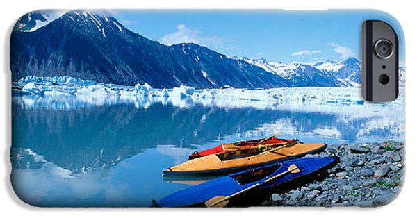 Mountain iPhone Cases - Usa, Alaska, Kayaks By The Side iPhone Case by Panoramic Images