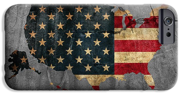Usa Flag Mixed Media iPhone Cases - USA American Flag Country Outline Painted on Old Cracked Cement iPhone Case by Design Turnpike