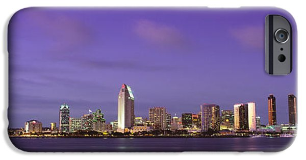Finance iPhone Cases - Usa, California, San Diego, Dusk iPhone Case by Panoramic Images