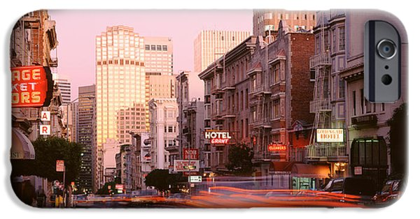 Crosswalk iPhone Cases - Usa, California, San Francisco, Evening iPhone Case by Panoramic Images