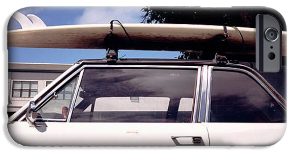 Anticipation iPhone Cases - Usa, California, Surf Board On Roof iPhone Case by Panoramic Images