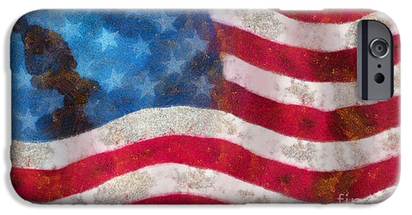 Freedom iPhone Cases - USA flag abstract painting iPhone Case by Odon Czintos