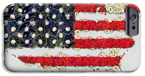4th July Digital Art iPhone Cases - USA flag map fruits and vegetables art iPhone Case by Eti Reid