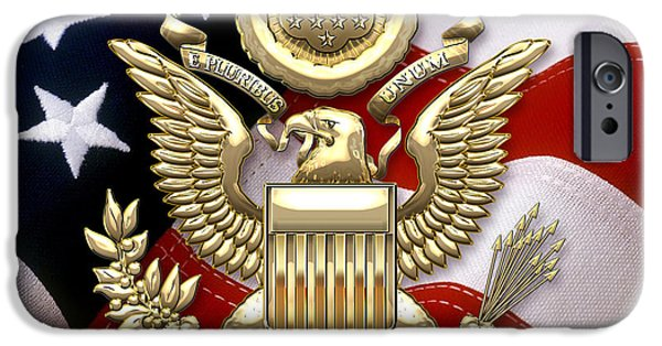 Great Seal Of The United States iPhone Cases - U.S.A. Great Seal in Gold over American Flag  iPhone Case by Serge Averbukh