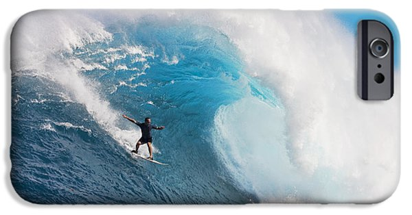 Break Fast iPhone Cases - USA, Hawaii Islands, Maui, Surfer On Huge Wave_ Peahi-Jaws iPhone Case by Dave Fleetham