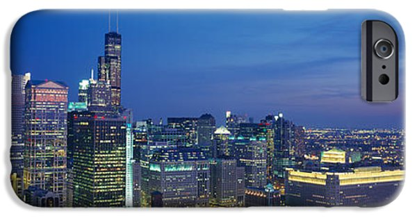 Sears Tower iPhone Cases - Usa, Illinois, Chicago, Twilight iPhone Case by Panoramic Images