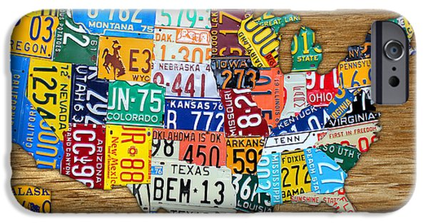 Alaska Mixed Media iPhone Cases - USA License Plate Map Car Number Tag Art on Light Brown Stained Board iPhone Case by Design Turnpike