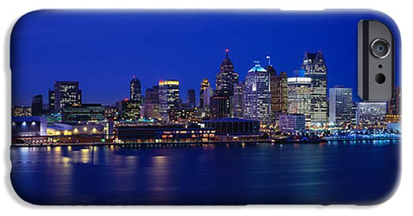 Renaissance Center iPhone Cases - Usa, Michigan, Detroit, Night iPhone Case by Panoramic Images
