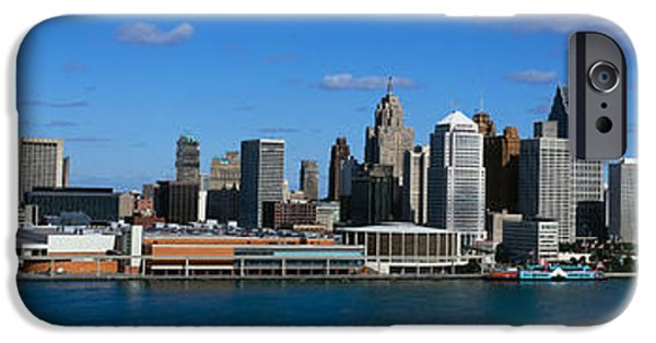 Renaissance Center iPhone Cases - Usa, Michigan, Detroit iPhone Case by Panoramic Images