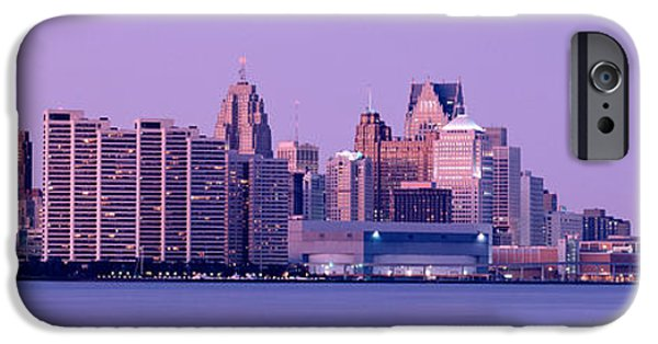 Renaissance Center iPhone Cases - Usa, Michigan, Detroit, Twilight iPhone Case by Panoramic Images