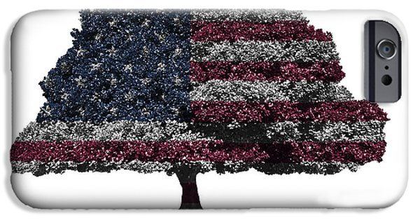 Republican Mixed Media iPhone Cases - USA national flag on isolated tree iPhone Case by Image World