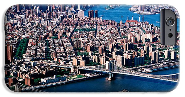 Connection iPhone Cases - Usa, New York, Brooklyn Bridge, Aerial iPhone Case by Panoramic Images