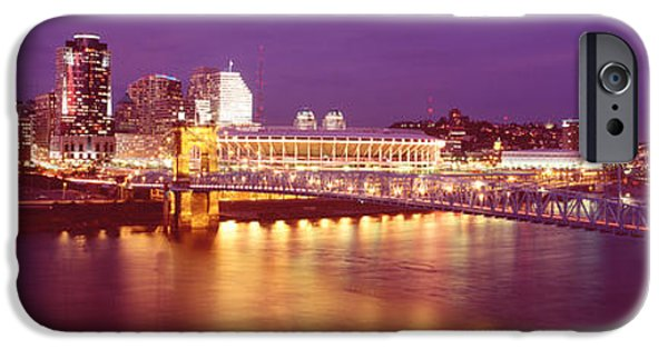 Finance Photographs iPhone Cases - Usa, Ohio, Cincinnati, Night iPhone Case by Panoramic Images