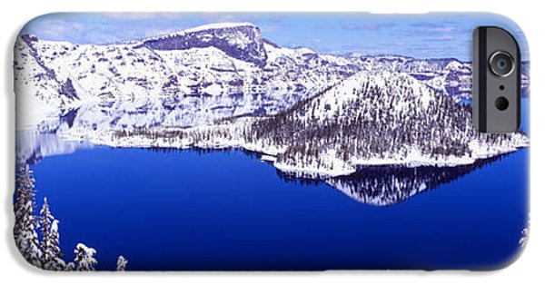 Snowy Day iPhone Cases - Usa, Oregon, Crater Lake National Park iPhone Case by Panoramic Images