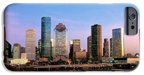 Finance iPhone Cases - Usa, Texas, Houston, Twilight iPhone Case by Panoramic Images