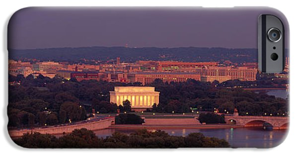 District Columbia Photographs iPhone Cases - Usa, Washington Dc, Aerial, Night iPhone Case by Panoramic Images