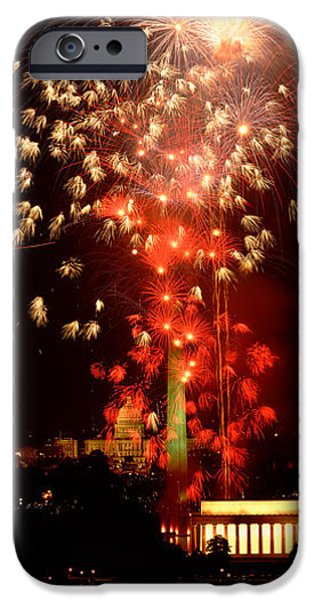 Red Fireworks iPhone Cases - Usa, Washington Dc, Fireworks iPhone Case by Panoramic Images