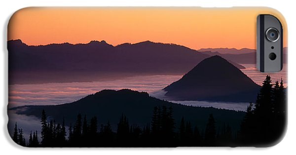 Rainy Day iPhone Cases - Usa, Washington, Mount Rainier National iPhone Case by Panoramic Images