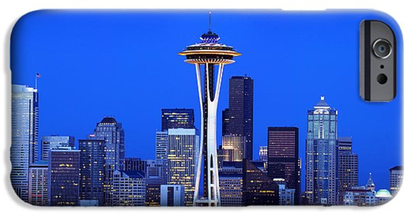 Town iPhone Cases - Usa, Washington, Seattle, Skyline With iPhone Case by Tips Images