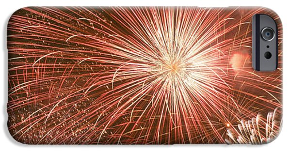 Fourth Of July iPhone Cases - Usa, Wyoming, Jackson, Fireworks iPhone Case by Panoramic Images