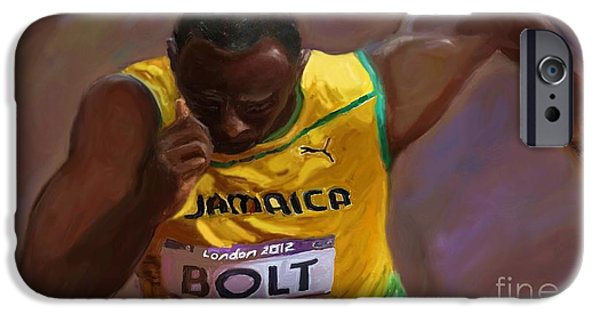 Olympic Gold Medalist iPhone Cases - USAIN BOLT 2012 Olympics iPhone Case by Vannetta Ferguson