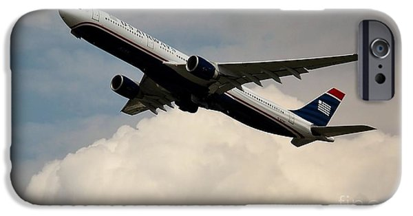Retraction iPhone Cases - USAIR Airbus iPhone Case by Rene Triay Photography
