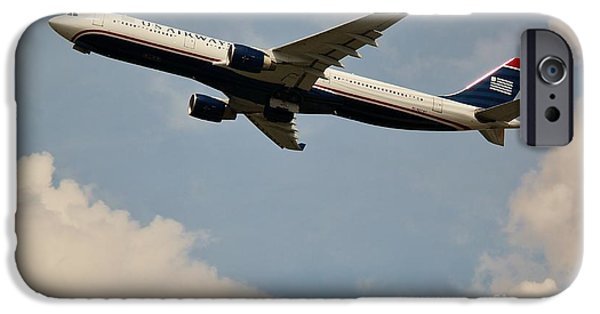 Retraction iPhone Cases - USAIR Airline iPhone Case by Rene Triay Photography