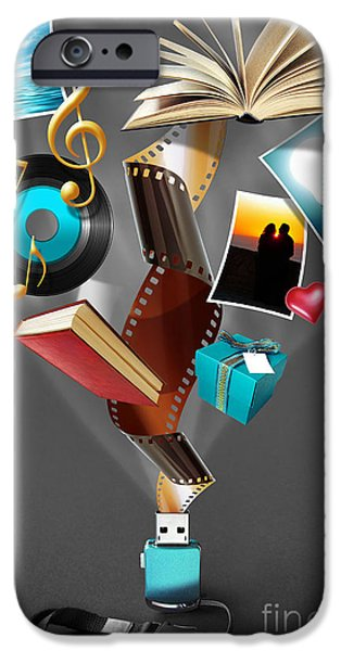 Data Photographs iPhone Cases - USB Drive iPhone Case by Carlos Caetano
