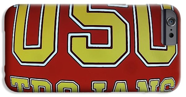Posters On Mixed Media iPhone Cases - USC Trojans Paint Poster iPhone Case by Dan Sproul